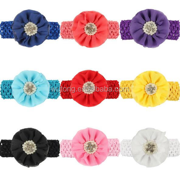Baby Girls Mix Colors Kids Children Elastic Hair Crochet Bands Hair Rhinstone And Pearl Headbands Hair Accessories