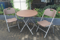 80cm Plastic rattan Outdoor Round Table Lightweight folding table