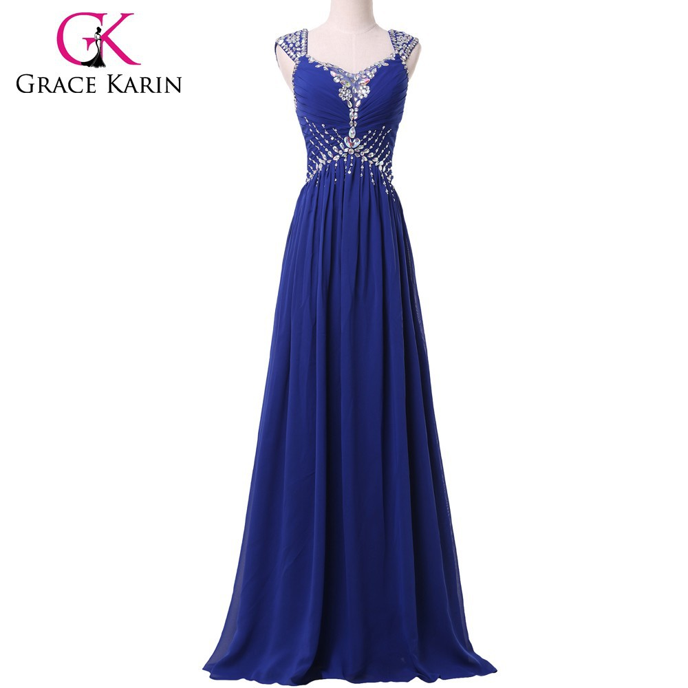 Grace karin Backless beading blue Chiffon Ball Gown Long Evening Party Dress CL6189