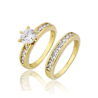 12801 Xuping jewelry 14k gold color plated fashion design gift jewelry romantic wedding couple rings