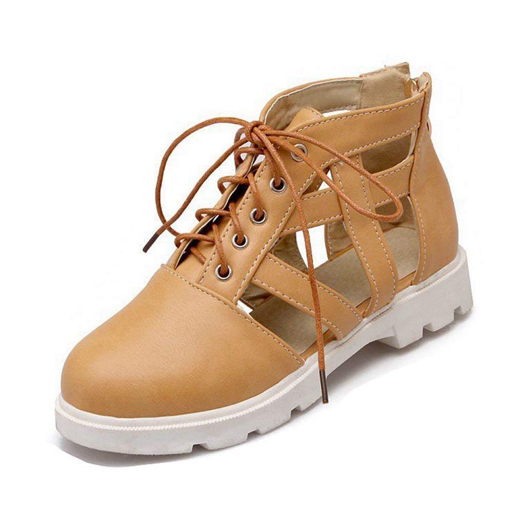 8e899d50a2fd74 Get Quotations · GIY Women s Flat Low Heel Sandals Close Toe Platform Caged Lace  up Zipper Gladiator Dress Sandals