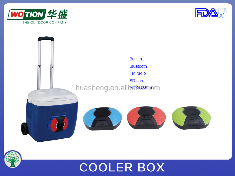 Portable Rolling Speaker Cooler Box With Trolley