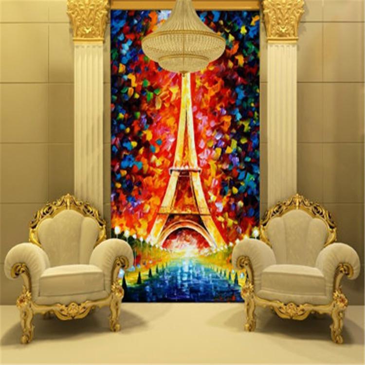 Eiffel Tower Wallpaper oil painting 3D Photo Wallpaper ...  Eiffel Tower Wa...