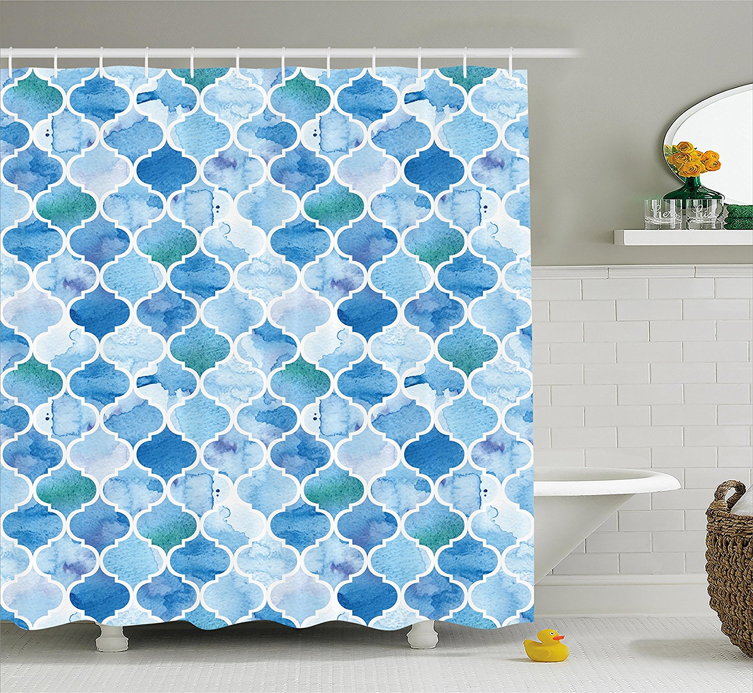 Moroccan Shower Curtain by Ambesonne, Oriental Style Arabic Mosaic Pattern in Watercolor Paint Retro Style Artwork Print, Fabric Bathroom Decor Set with Hooks, 84 Inches Extra Long, Light Blue