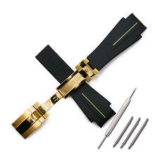 Резиновый ремешок для мужчин, аксессуары для часов, складной ремешок с пряжкой для часов, водонепроницаемый силиконовый ремешок для часов(Китай)