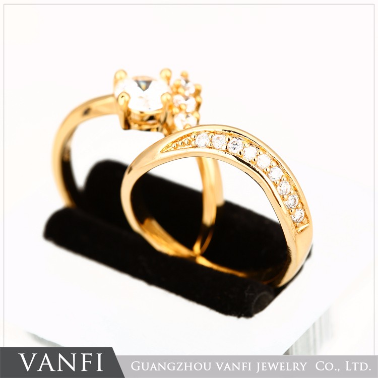 24k Gold Plated Dubai Wedding Rings Jewelry Model Gold Rings