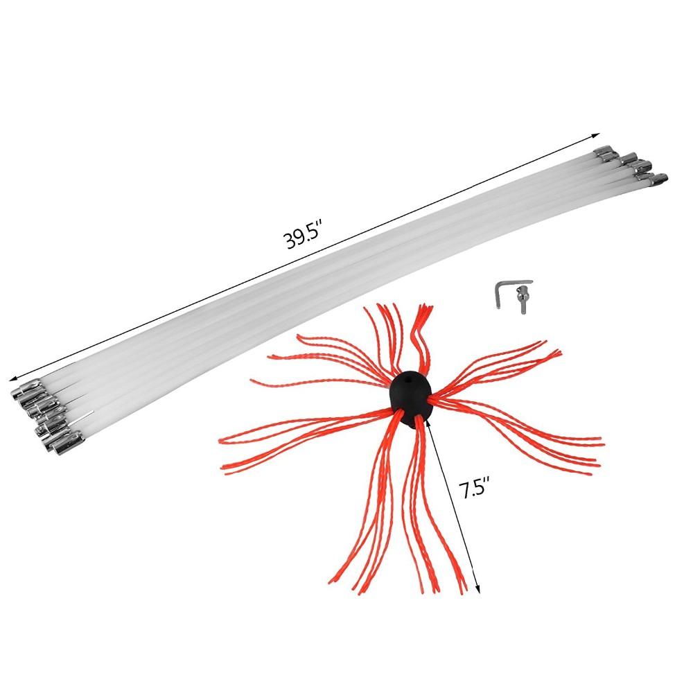 Chimney Sweep Brush 20 Feet Flexible Rods Kit Drill
