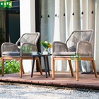 outdoor furniture garden set 3 pcs table and chairs rattan wicker design