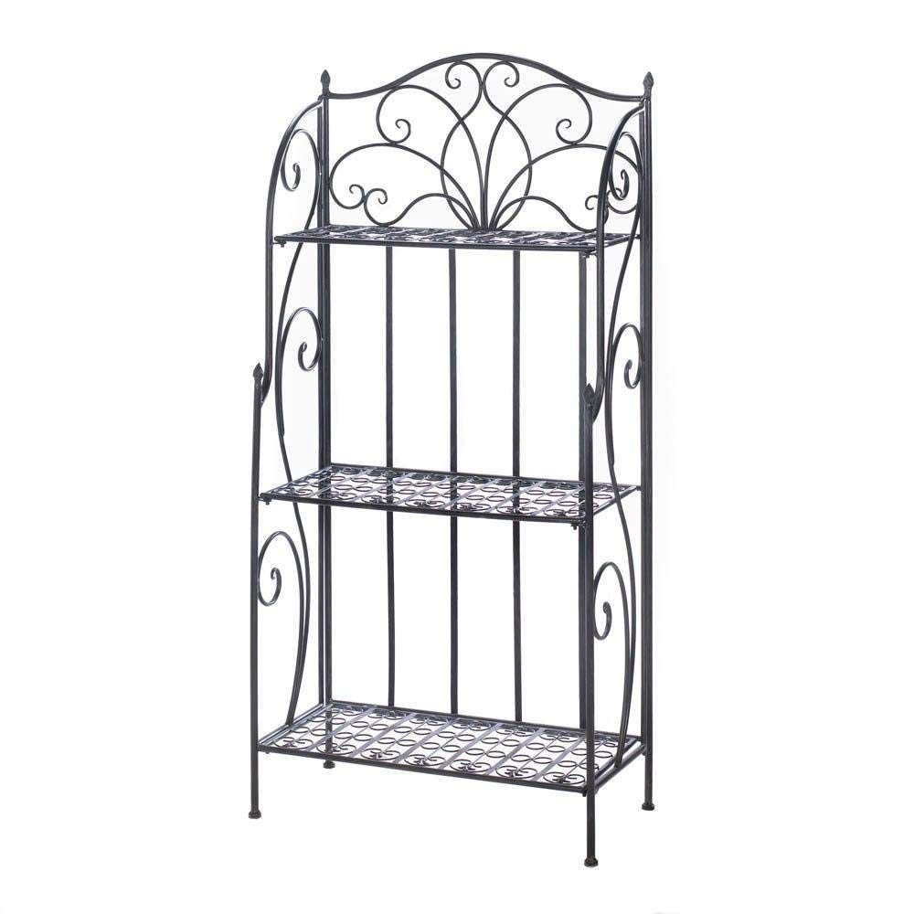 MyEasyShopping Divine Bakers Rack, 1-Divine Bakers Rack Black, Divine Rack Baker S Bakers Shelves Iron Home Cast Three Accent Black And Flourishes, Decorative Organizer Storage Display
