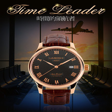 Visible movement mechanical quartz watch with genuine leather strap