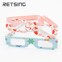 Custom special effect firework diffraction 3d glasses heart snowflake paper glasses for Christmas and Party