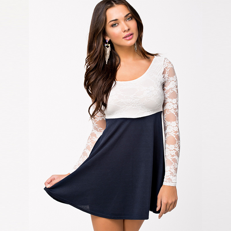 fcbea789594d Get Quotations · R7974 Long transparent lace sleeve women dress summer  skater elegant patchwork sexy dresses hollow out bowknot