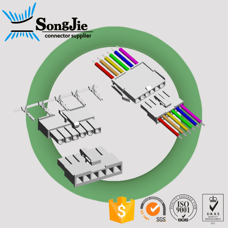 single row molex 5557 2 3 4 5 6 pin female housing connector power receptacle wire to board