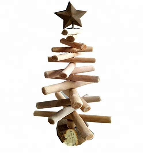 Handmade Christmas Driftwood Tree decoration with metal star topper