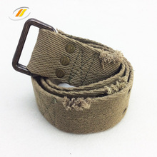 Retro Army Men Canvas Fabric Belt With Alloy Buckle