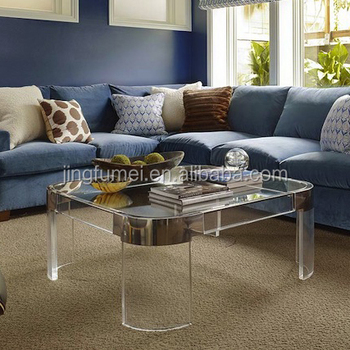 Clear Glass Coffee Tables Top Acrylic Transparent Legs Modern Gold Living Room Furniture Buy Gold Coffee Table Glass Table Legs Living Room