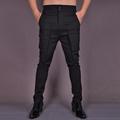 HOT 2016 NEW Men Tooling trousers autumn trousers tight casual pants cotton elastic fashion pants black