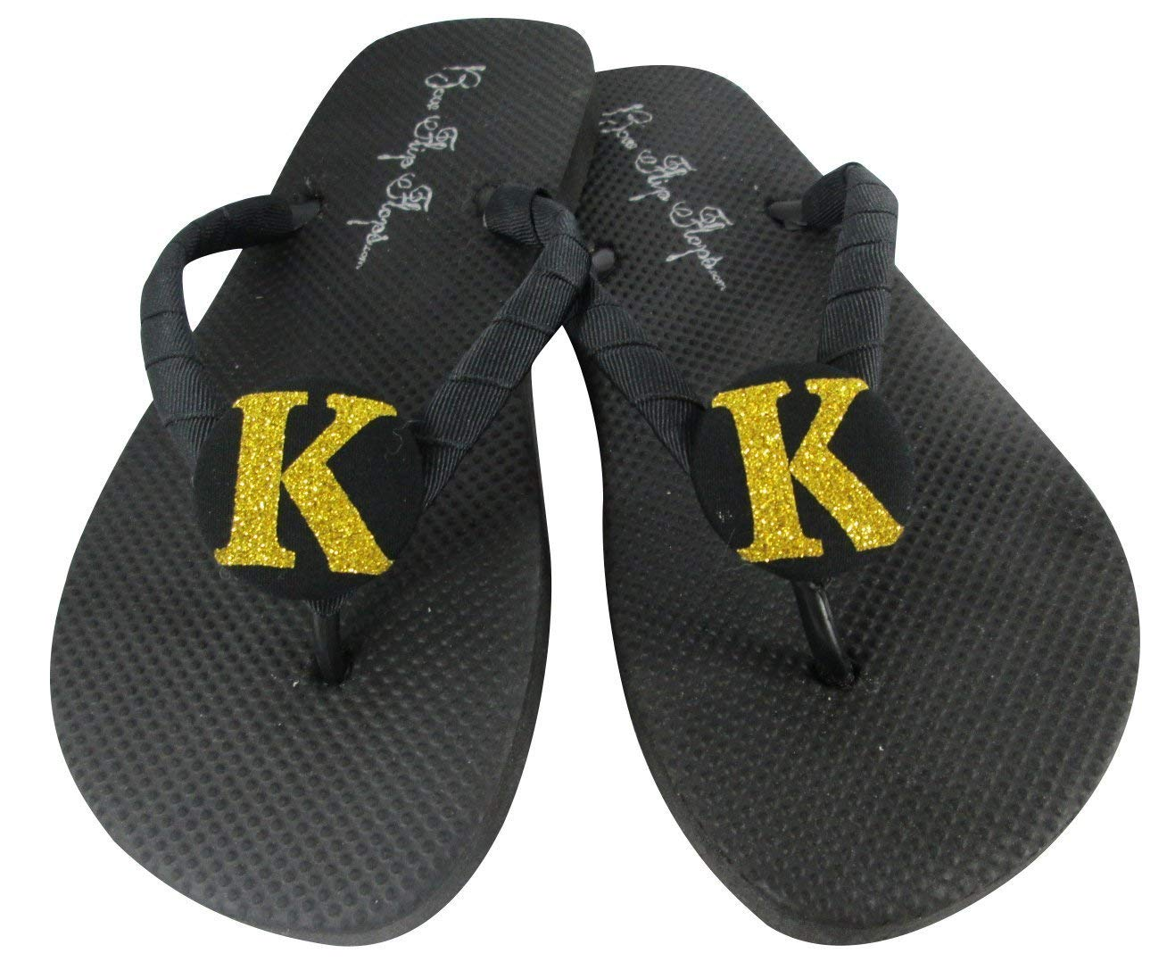 6483ee4c8 Get Quotations · Gold Glitter on Black Flip Flops