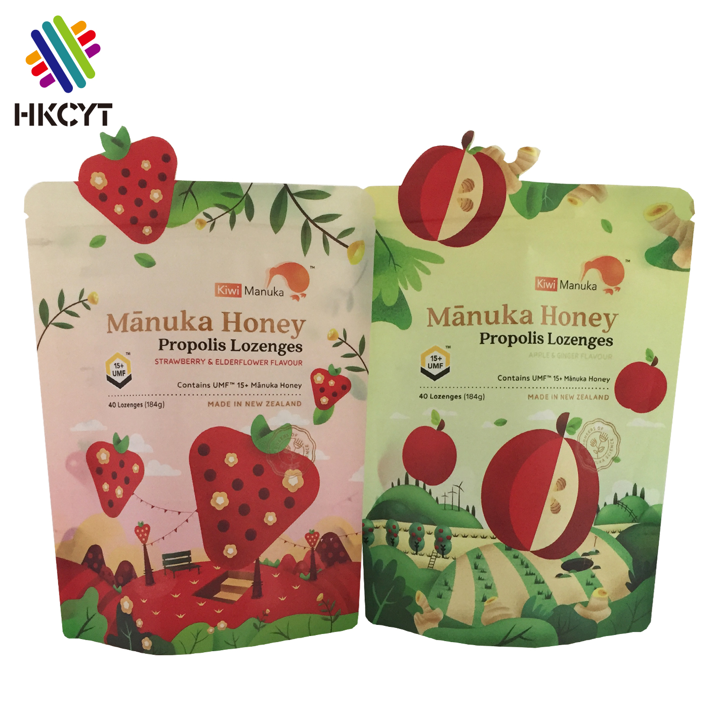 OEM shaped custom printed plastic stand up zipper pouch for propolis food grade propolis packaging bag