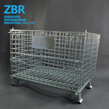 Heavy Duty Folding Metal Wire Pallet Container Cage Wire Basket with Wheels