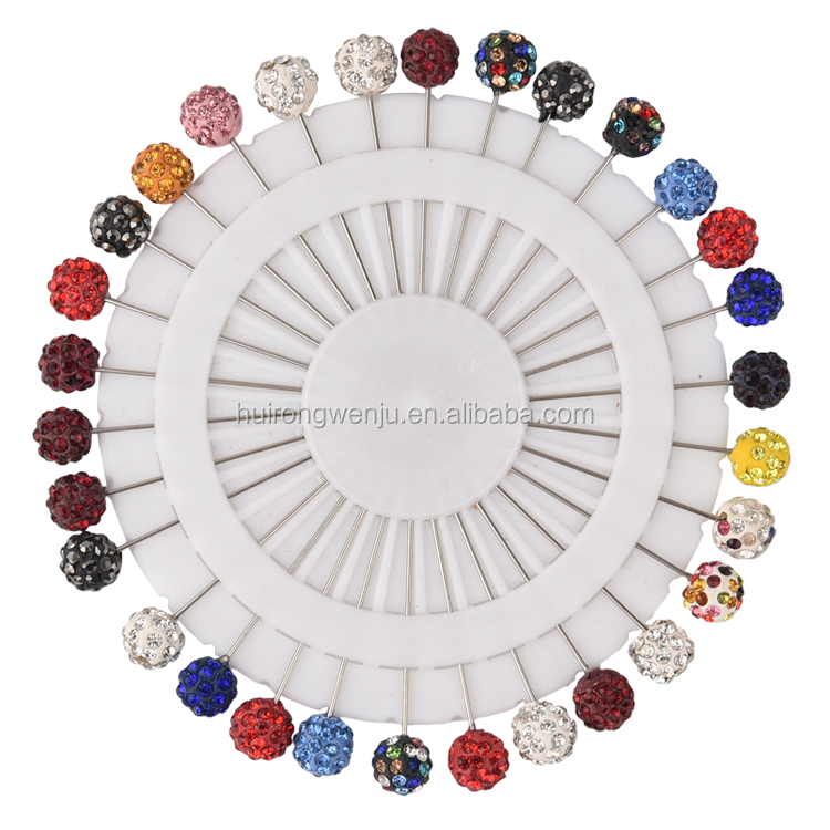 Hot selling Pure Kleur Crystal Modieuze Pinnen Moslim Hijab Sjaal Pinnen Vrouwen Sjaals Broches Pins