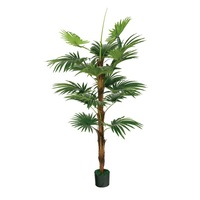 Artificial Mini Fan Palm and Plastic Fan Leaves Bamboo Plants Bonsai for Indoor Decoration