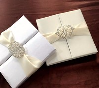 Luxury Ivory silk Wedding Invitation boxes with crystal brooches or pearl Brooch