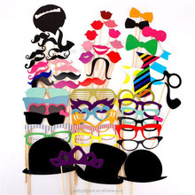 spot wholesale 58pcs Birthday Party Wedding Props Mask Moustache Photo props Stick Photography