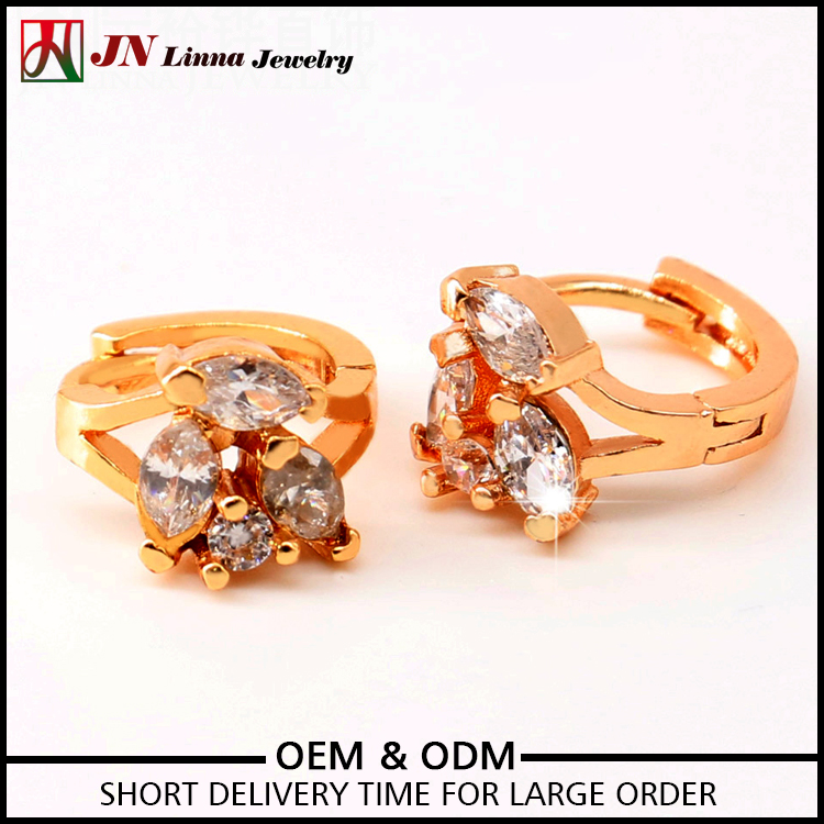 JN1025 China earring manufacturer gold plated purple colored zircon stone earrings for women