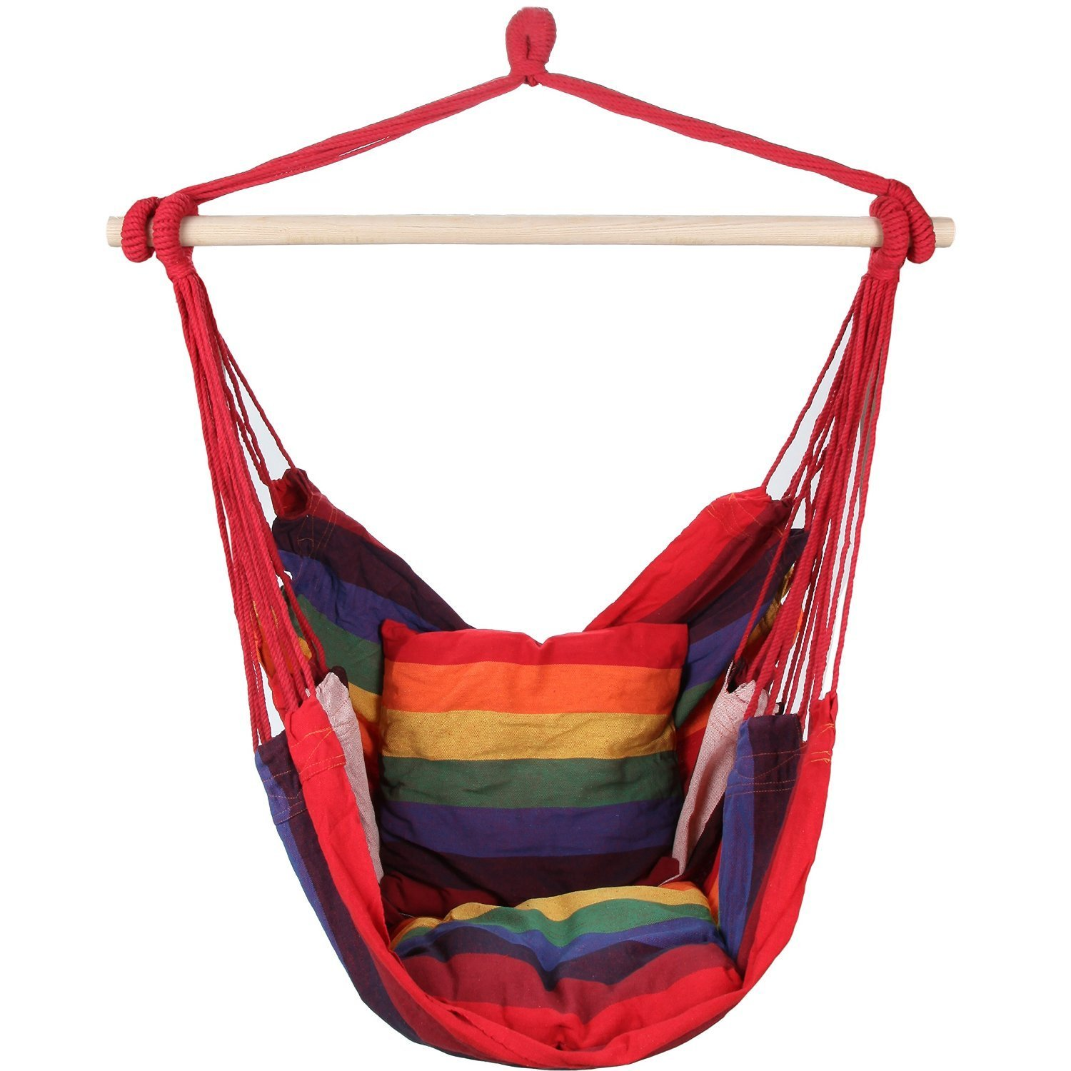 Porch Swing Hammock Patio Swings Outdoor Small Hanging Cotton Chair Rope Single Seat Modern Red Design