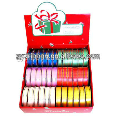 Christmas ribbon rolls for gift wrapping: metalic printed ribbon for Garden Gifts Decorative Items