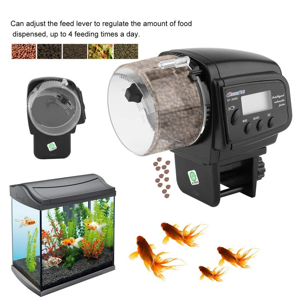Homgrace Automatic Fish Feeder, Adjustable Digital Fish Feeder Aquarium Food Dispenser or Fish with LCD Display for Vacation, Weekend Fish Food Dispenser Batteries Included