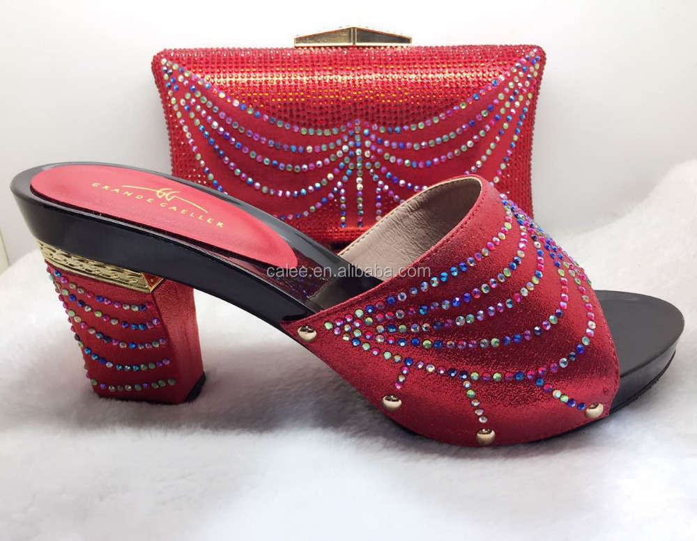 Quality For And Shoes Red Bag African Women Set Matching Party High wzHnAw1x
