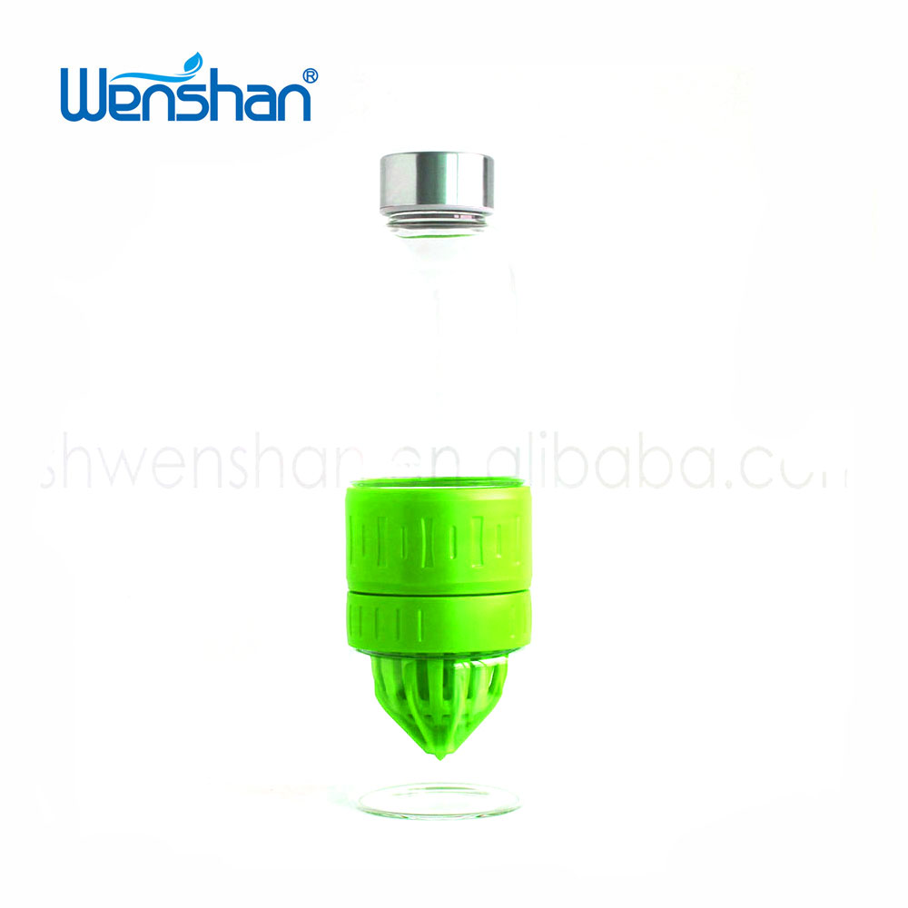 Customized Double glass wall BPA free Lemon water bottle fruit infuser