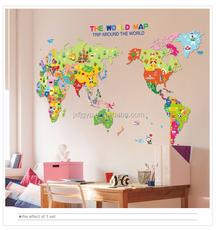 Cartoon Monuments The Country Map World Map Wall Sticker For Baby Kids