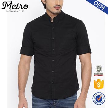 Hombres negro de lino de corte Slim Casual Camisa de manga corta con cuello  mao 8533264b872