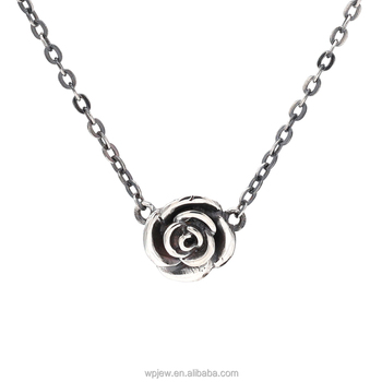 Oxidized 925 sterling silver black rose flower polished fashion oxidized 925 sterling silver black rose flower polished fashion choker pendant necklace jewelry for women aloadofball Choice Image