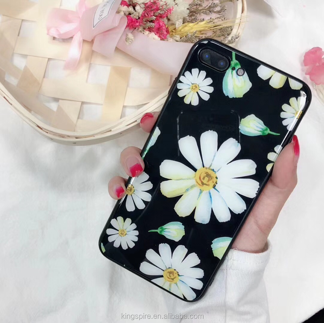 <strong>Hot</strong> Selling Tempered Glass Flower Phone Case For iPhone 7