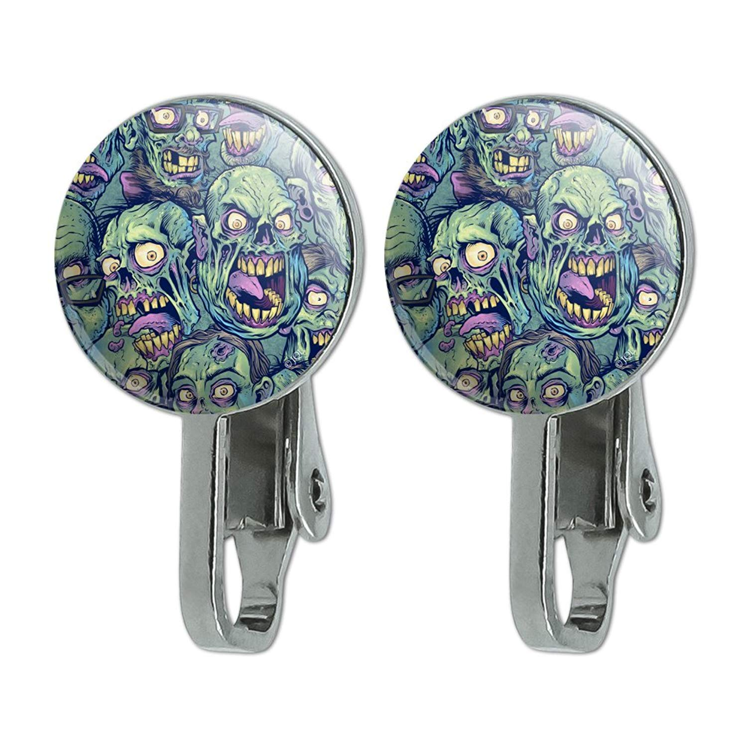 Graphics and More Zombie Pattern Dead Corpses Undead Horror Novelty Clip-On Stud Earrings
