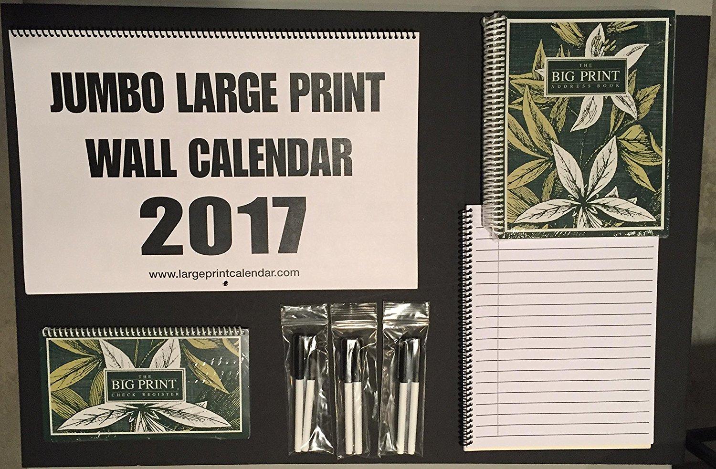 buy jumbo large print bundle calendar address book check register