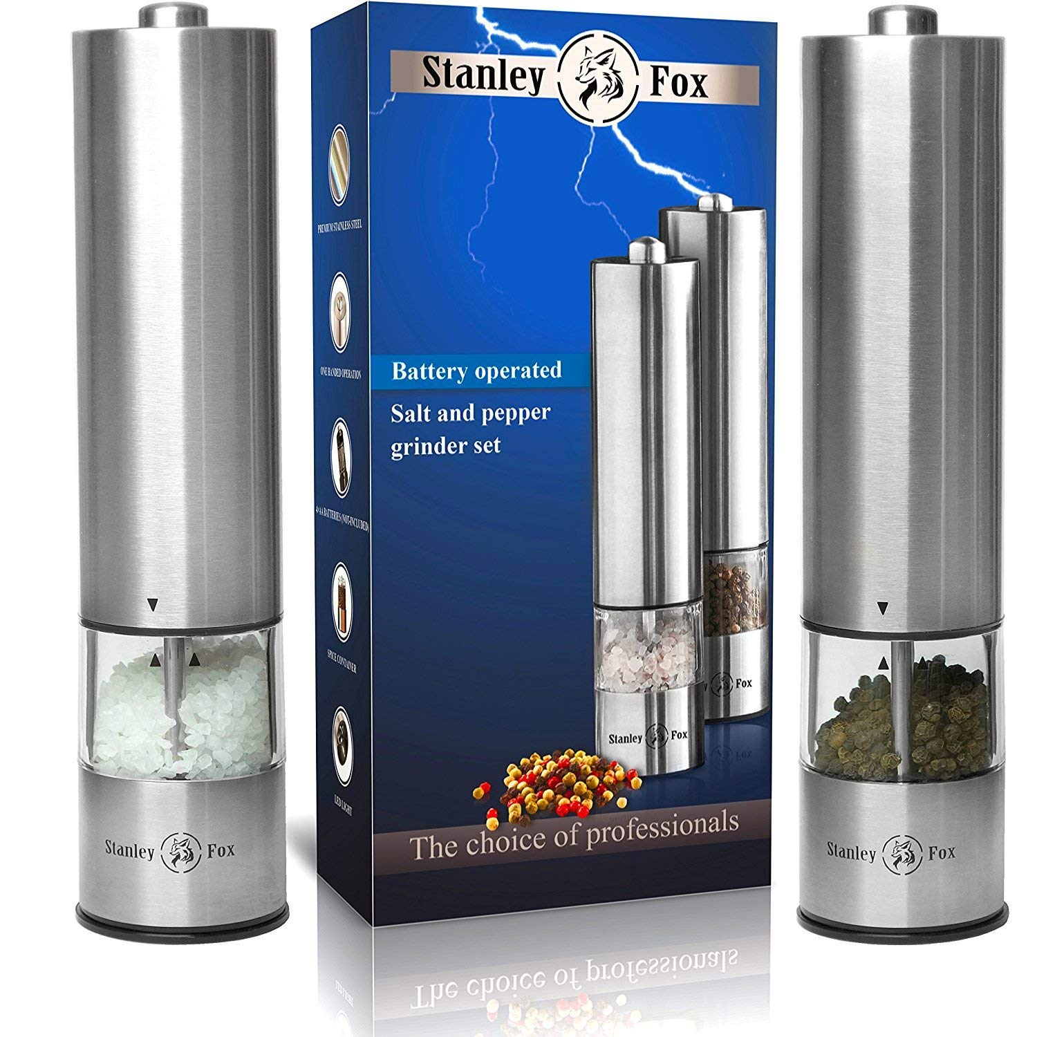 Electric salt and pepper grinder set - Salt and Pepper shakers with LED - Automatic mills - Battery Operated Salt grinder and pepper mill - One-handed pepper grinder
