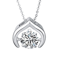 44703 Xuping Promotion Price dancing stone pendant necklace, diamond jewelry, rhodium plated most popular dancing stone jewelry