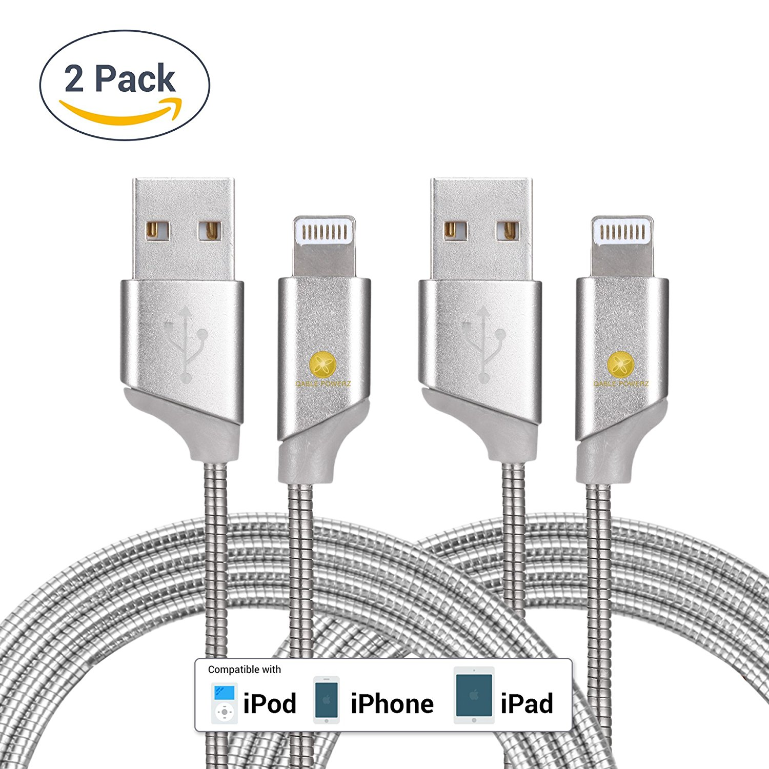 2pk New Ultra Super-Fast Heavy Duty 3Ft (1M) 2pk 8-Pin Lightning Metal Spring Cord Charging Cable High Speed USB 3.0 Sync Cable for iPhone 7, 6, 6 Plus – Silver