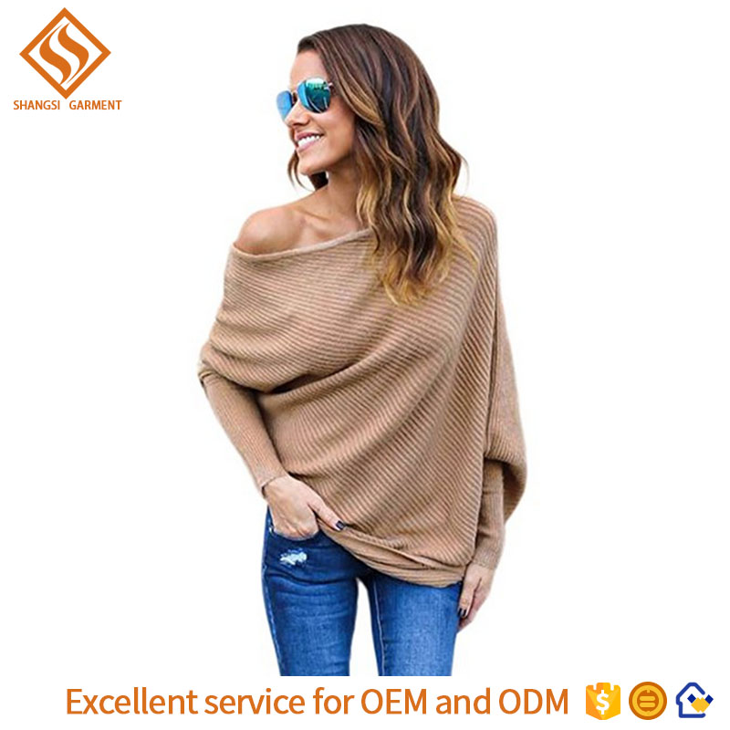 women sexy off shoulder sweater lady boat neck plain 7GG knit boat neck pullover sweater