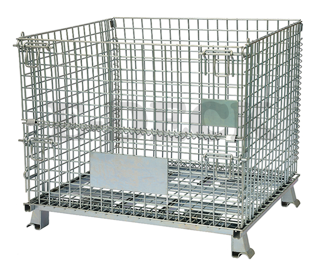 China welded galvanized folding collapsible stackable storage heavy duty steel rigid wire mesh containers with wheels