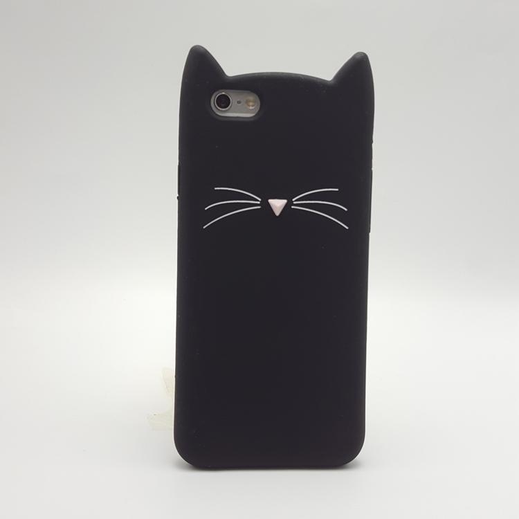 sports shoes 27e9b 3d571 3D Smile Black Cat Ear Beard Soft Silicone Case for iPhone 4 4S 5 5S SE 6  6S Plus 8 7 7Plus X XR XS MAX Rubber Cover Phone Case
