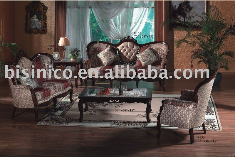 Antique solid wood living room sofa setssingle sofalove sofathree