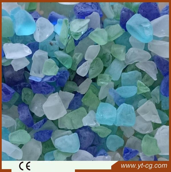 China good price colored slag landscaping glass rock with many size