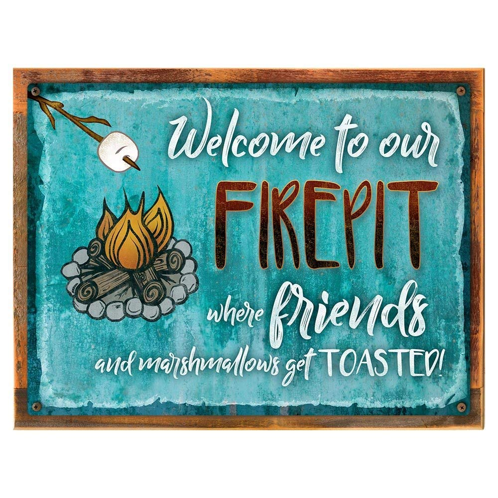 "Framed, Outdoor Welcome to our Firepit 18""x24"" Metal Sign, Autumn, Fall, Thanksgiving, Rustic, Hand-Crafted from reclaimed materials"