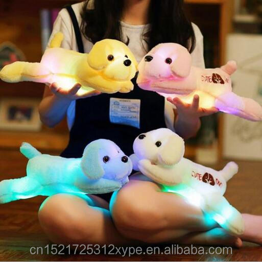 New style fashion LED light colorful <strong>plush</strong>&stuffed dog toy for kids playing